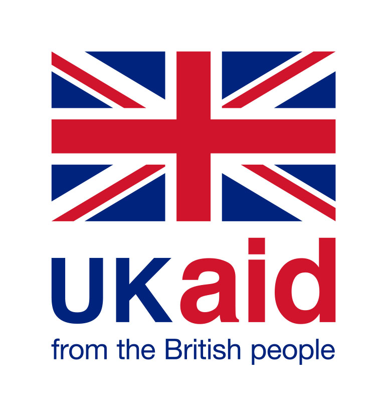 UK AID color on white